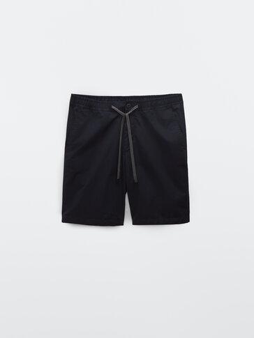 Technical cotton poplin Bermuda shorts