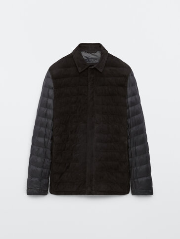 Contrast suede quilted overshirt