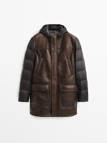 Contrasting long double-faced leather jacket