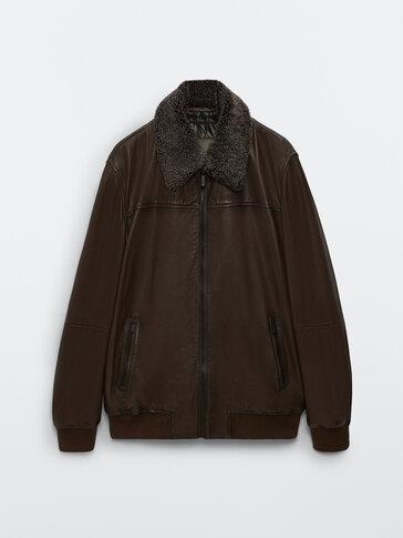 Куртка из мягкой кожи наппа с воротником из овчины