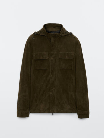 Suede jacket with removable hood