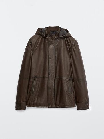 Куртка из кожи наппа с капюшоном