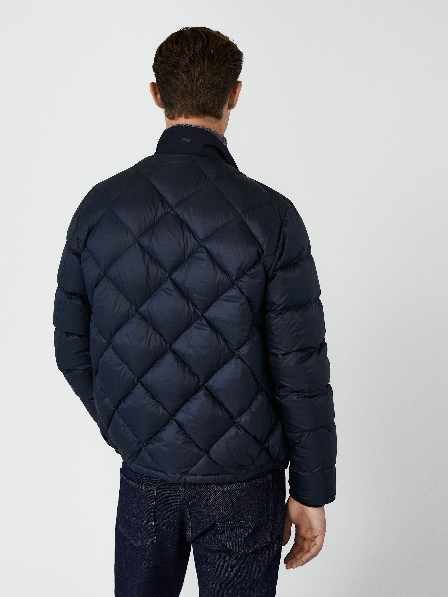 Contrast puffer bomber jacket NAVY BLUE