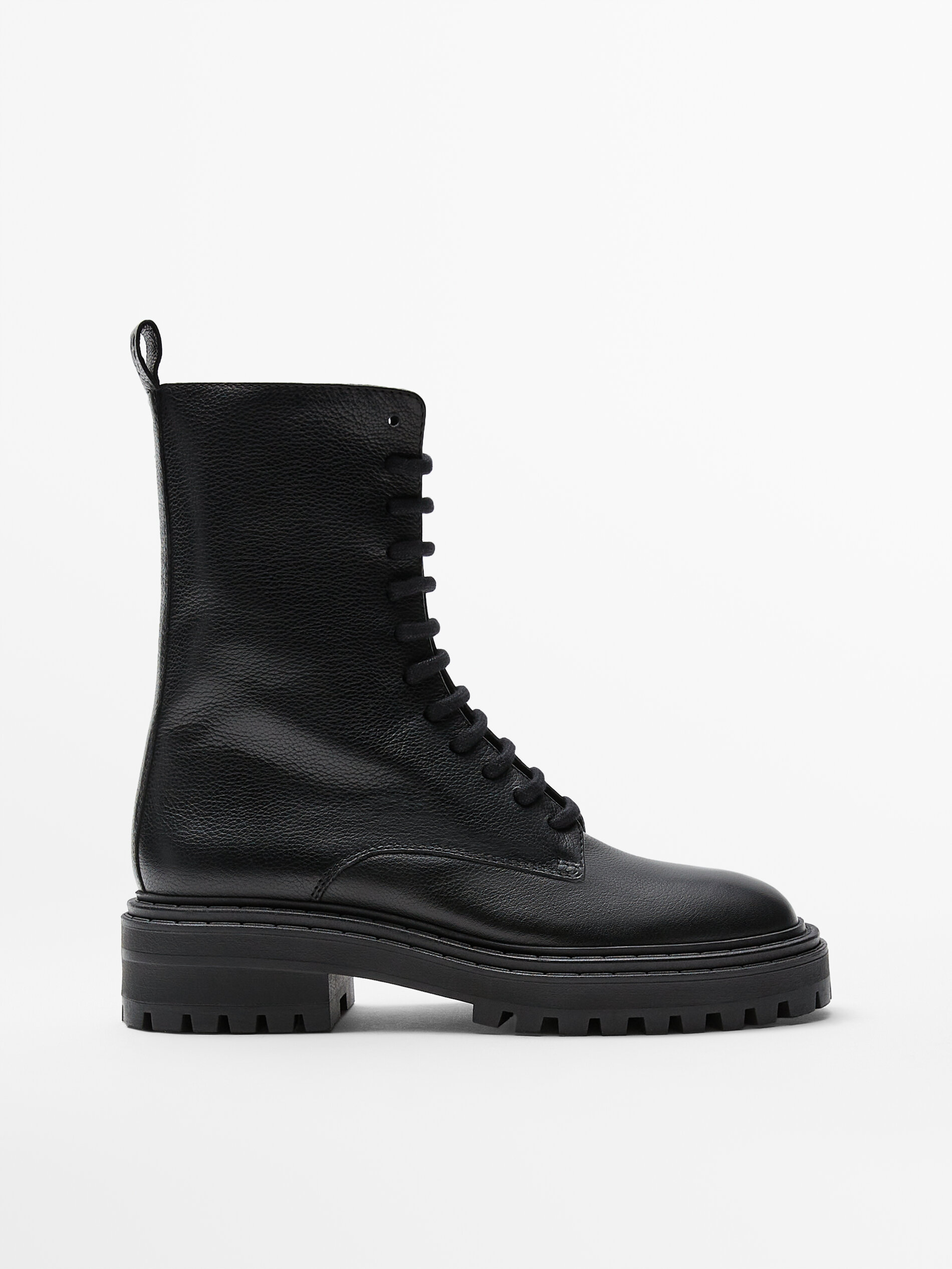 Lace-up black leather boots BLACK