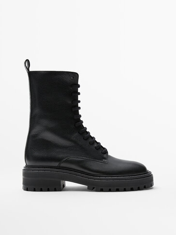 Lace-up black leather boots