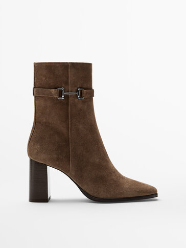 HEELED SPLIT SUEDE ANKLE BOOTS WITH HORSEBIT DETAIL