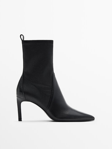LEATHER HIGH-HEEL ANKLE BOOTS WITH ELASTIC LEG