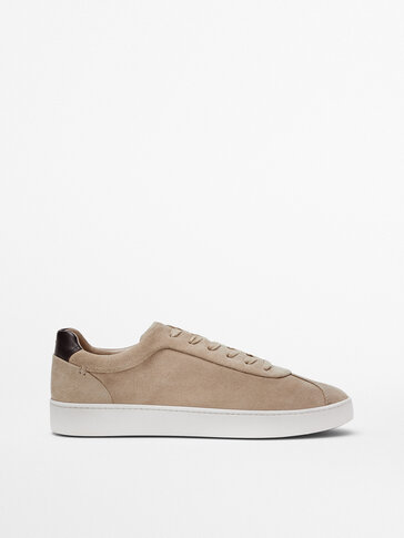 BROWN LEATHER TRAINERS WITH CONTRAST HEEL