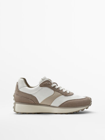 Leather trainers with contrast trims