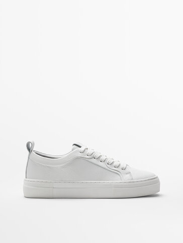 White tumbled leather trainers