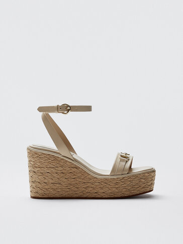 Leather and raffia wedges with metal detail