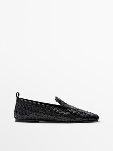 Black leather plaited loafers