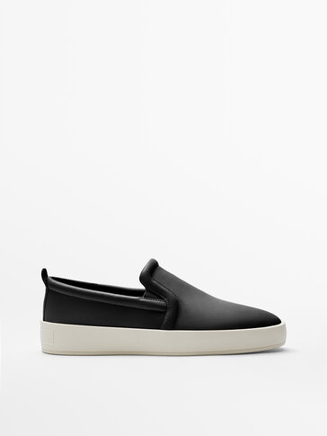 BLACK LEATHER LOAFERS WITH ELASTIC TRIM