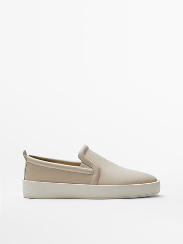 ECRU LEATHER LOAFERS WITH ELASTIC TRIM