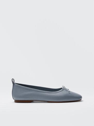 حذاء باليه مسطّح من الجلد الناعم لون أزرق سماوي