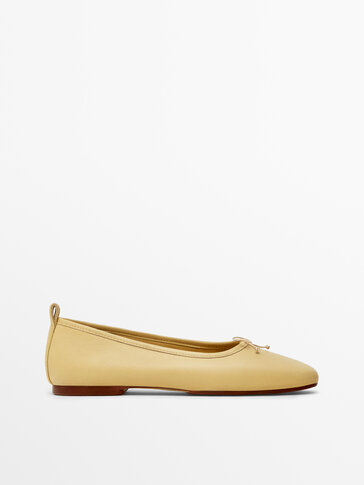 Yellow soft leather ballet flats
