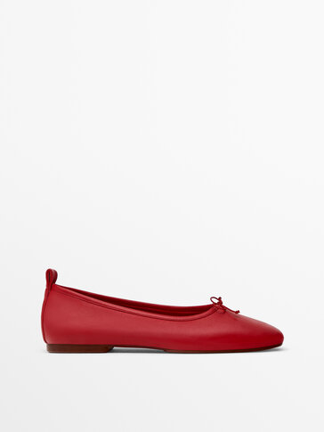 Red soft leather ballet flats