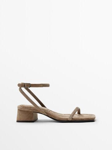 Sand-coloured split suede leather heeled sandals