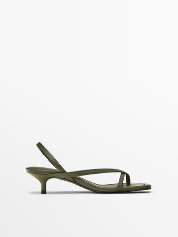 Khaki asymmetric strap heeled sandals