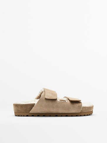 FLAT WIDE-STRAPPED LINED SANDALS