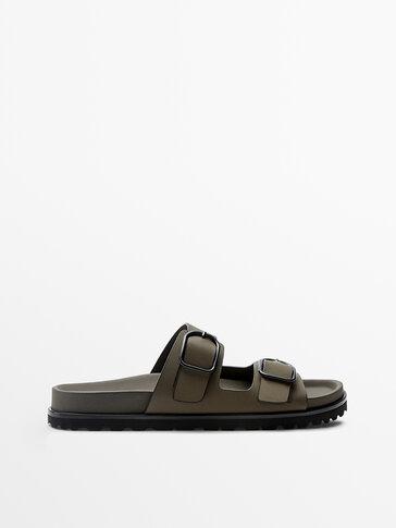 Rubberised khaki leather flat sandals