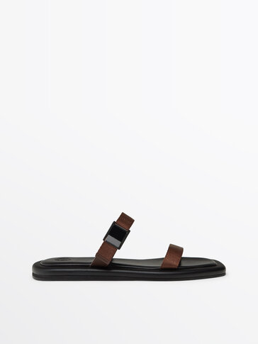 Brown strappy sandals with buckle