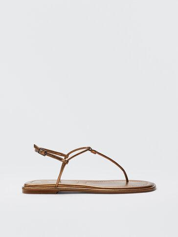 Nízke sandále so zlatými remienkami