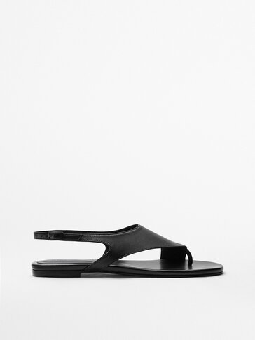 LEATHER SANDALS WITH ASYMMETRIC UPPER