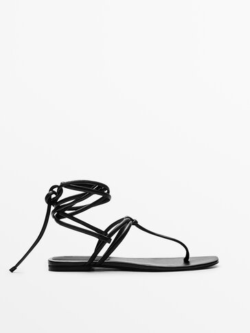 TIED LEATHER FLAT SANDALS