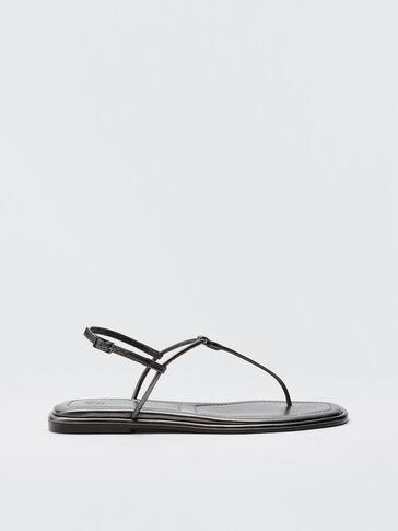 Sandalia plana tira gris antracita