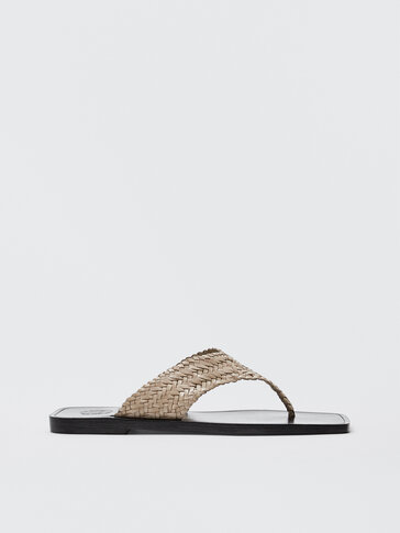 WOVEN BEIGE LEATHER SANDALS