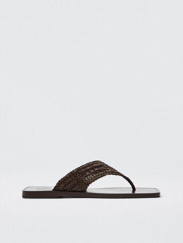 WOVEN BROWN LEATHER SANDALS