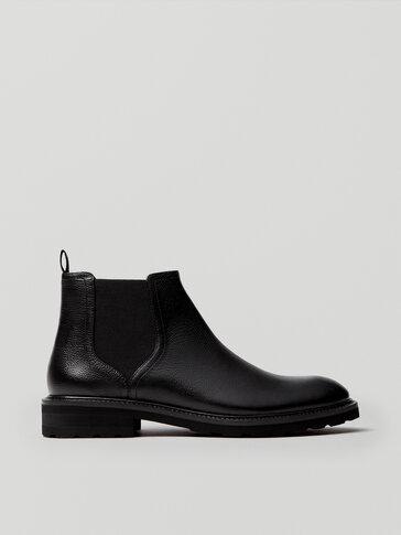 Черные кожаные челси с эластичной вставкой
