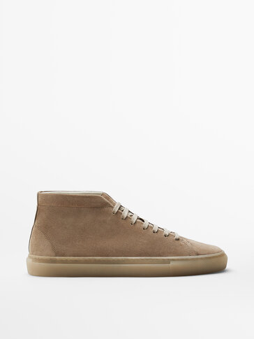 Sand-coloured split suede leather high-top trainers