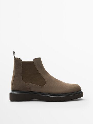 MINK-COLOURED SPLIT SUEDE LEATHER CHELSEA BOOTS