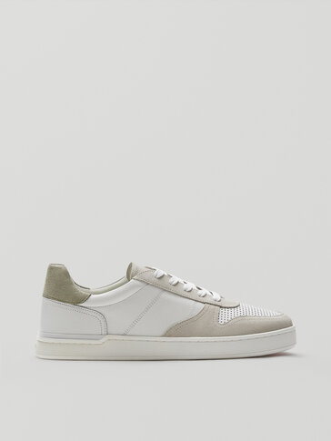 White leather detail trainers