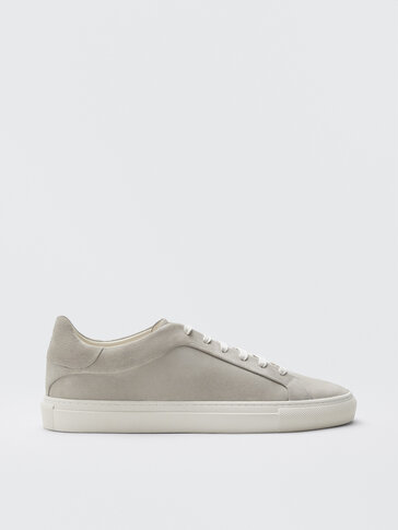 Sand-coloured split suede leather trainers
