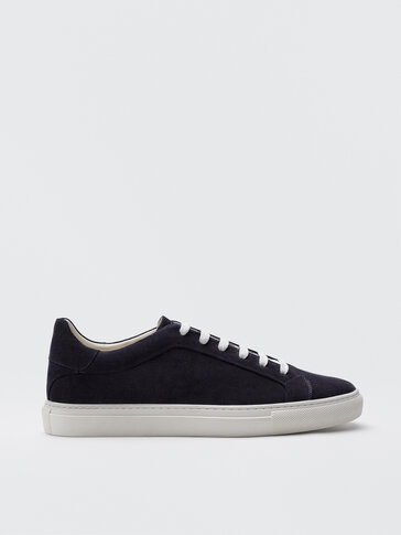 Blue split suede leather trainers
