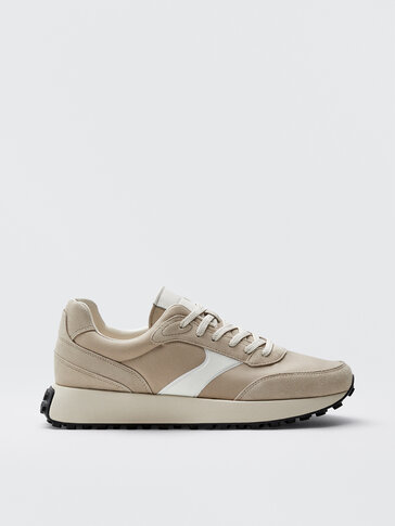SAND-COLOURED LEATHER TRAINERS WITH PIECES