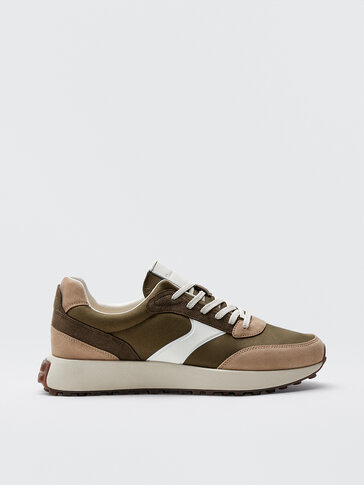 KHAKI LEATHER TRAINERS WITH PIECES