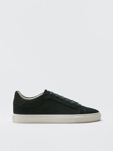 GREEN SPLIT SUEDE LEATHER TRAINERS