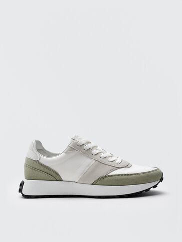 Leather trainers with contrast pieces