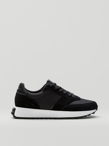 BLACK LEATHER TRAINERS WITH CLEATS