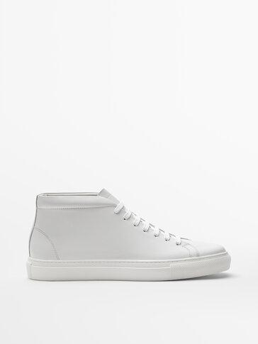 נעלי סניקרס גבוהות מעור נאפה בצבע לבן