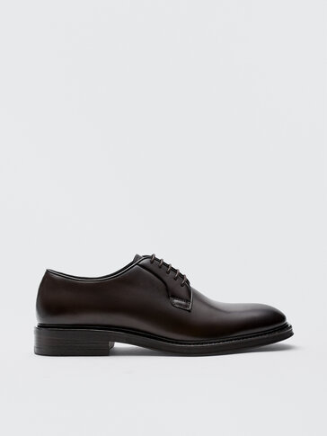 Brown leather derby shoes