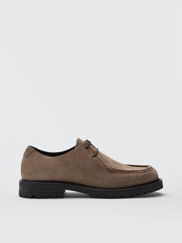 Mink-coloured split suede shoes
