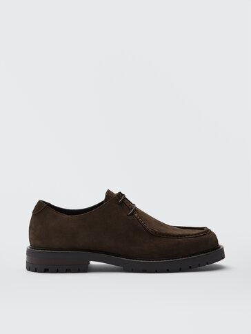 Brown split suede shoes