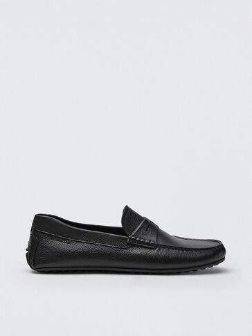 Black leather kiowa loafers