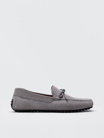 GREY SPLIT SUEDE LEATHER LOAFERS