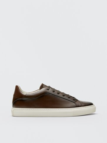 Tan nappa brushed leather trainers